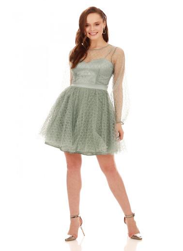 6ixty8ight Çağla Tül Glitterli Uzun Kollu Abiye Elbise Yeşil
